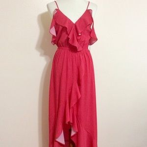 Express High Low Ruffle Maxi Dress Red Size Med
